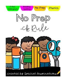 No Prep! CK Rule Phonics Activities & Literacy Centers