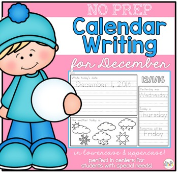 No Prep Calendar Writing Workbook for December