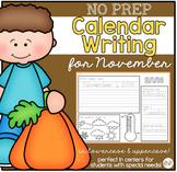 No Prep Calendar Writing Workbook for November