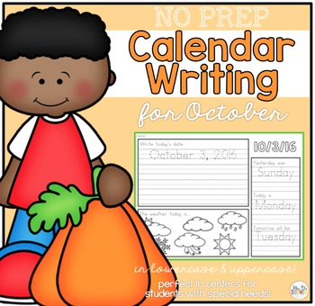 No Prep Calendar Writing Workbook for October