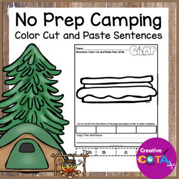 No Prep Camping Coloring Cut and Paste Sentences