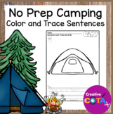 No Prep Camping Coloring Trace and Write Sentences
