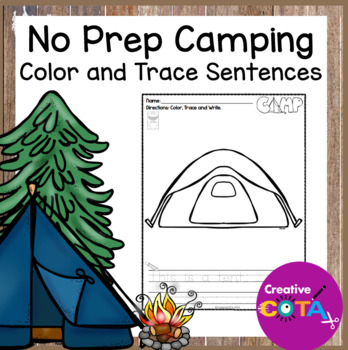 No Prep Camping Coloring Trace and Write Sentence Worksheets