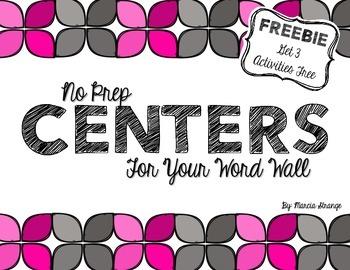 No Prep Centers - Word Wall Edition - Freebie