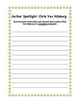 No Prep Chris Van Allsburg Author Study Unit