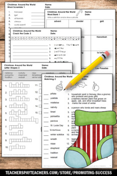 No Prep Christmas Around the World Vocabulary Worksheets, Christmas Activities