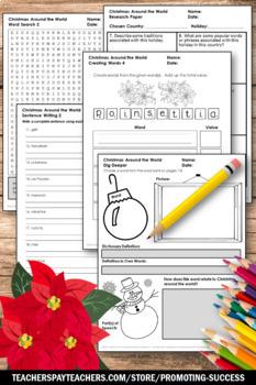 Christmas Around the World Unit Supplement, Christmas Vocabulary Worksheets