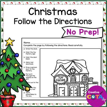 no prep christmas follow the directions worksheets by. Black Bedroom Furniture Sets. Home Design Ideas