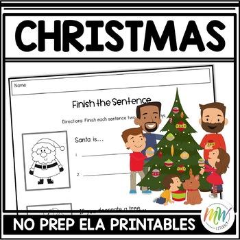 No Prep Christmas Literacy Activity Packet