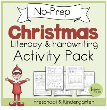 No-Prep Christmas Literacy and Handwriting Activities Pack (Pre-k/Kindergarten)