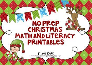 No Prep Christmas Math and Literacy Printables