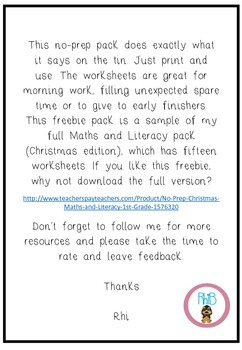 No-Prep Christmas Maths and Literacy FREEBIE