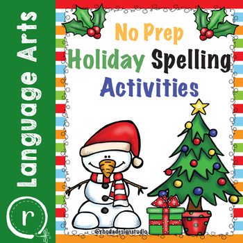 No Prep Christmas Spelling Activities and Worksheets