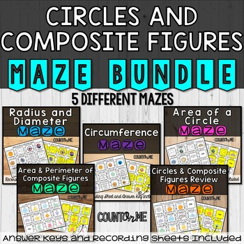 No Prep Circles and Composite Figures Maze Bundle