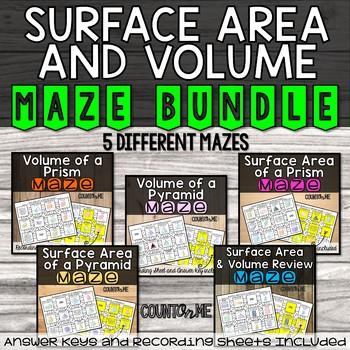 No Prep Surface Area and Volume Mazes Bundle