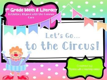 No Prep Circus Theme 1st Grade Math & Literacy Printables Common Core algnd