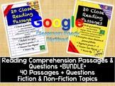 No-Prep Close Reading Comprehension Passages and Questions BUNDLE + GOOGLE DRIVE
