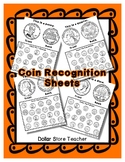 No Prep Coin / Money Recognition Work Sheets - Penny Dime