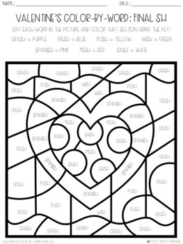 No Prep Color-By-Word Valentine's Day Articulation Packet For /SH/