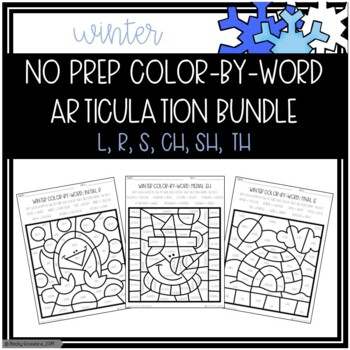 No Prep Color-By-Word Articulation Winter Themed Bundle