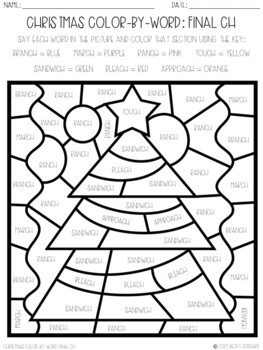 No Prep Color-By-Word Christmas Themed Articulation Packet For /CH/