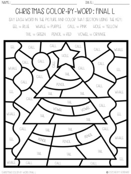 No Prep Color-By-Word Christmas Themed Articulation Packet For /L/