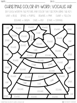 No Prep Color-By-Word Christmas Themed Articulation Packet For /R/