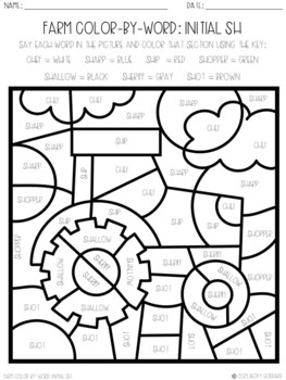 No Prep Color-By-Word Farm Themed Articulation Packet For /SH/