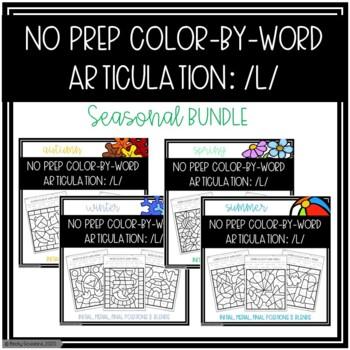 No Prep Color-By-Word /L/ Seasonal Bundle