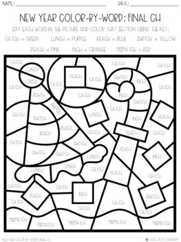 No Prep Color-By-Word New Year Themed Articulation Packet For /CH/