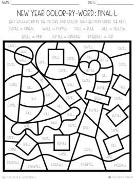No Prep Color-By-Word New Year Themed Articulation Packet For /L/