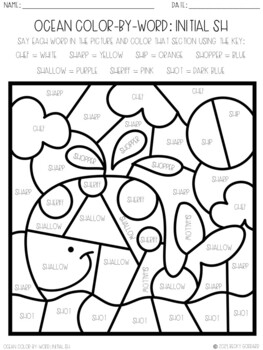 No Prep Color-By-Word Ocean Themed Articulation Packet For /SH/