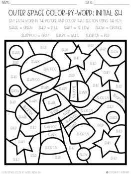 No Prep Color-By-Word Outer Space Themed Articulation Packet For /SH/