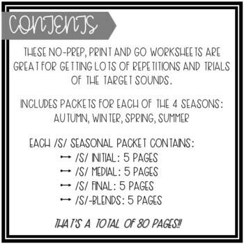 No Prep Color-By-Word /S/ Seasonal Bundle