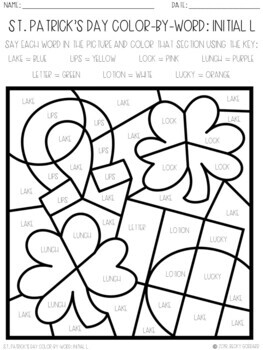 No Prep Color-By-Word St. Patrick's Day Articulation Packet For /L/