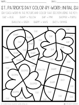 No Prep Color-By-Word St. Patrick's Day Articulation Packet For /SH/