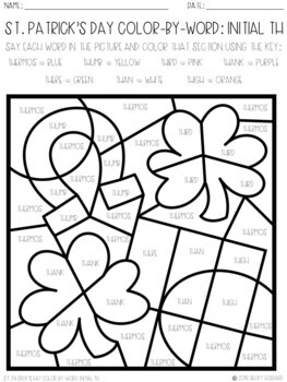 No Prep Color-By-Word St. Patrick's Day Articulation Packet For /TH/