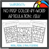 No Prep Color-By-Word Summer Themed Articulation Packet For /SH/