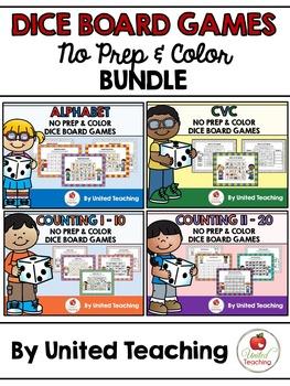 No Prep & Color Dice Board Games Bundle