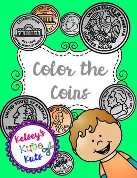 No Prep Color the Coins Money Activity