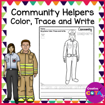 No Prep Community Helper Coloring and Trace a Sentence