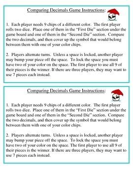 No Prep Comparing Decimals to Hundredths Game 4.NF.C.7