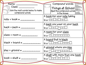 Compound Words no-prep Worksheets for different themes