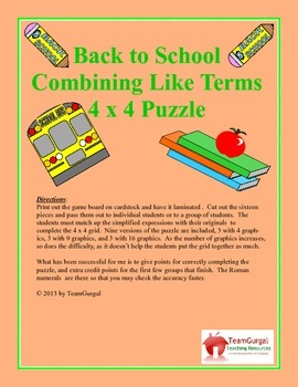 No Prep Computer Math Puzzles - Back to School - Combining Like Terms