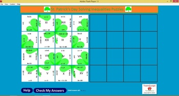 No Prep Computer Math Puzzles - St. Patrick's Day Solving Inequalities