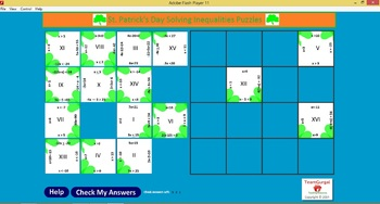 No Prep Computer Math Puzzles - St. Patrick's Day Solving