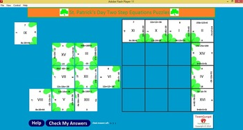 No Prep Computer Math Puzzles - St. Patrick's Day Two Step Equations