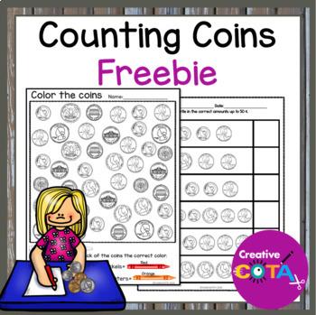 No Prep Counting Coins Freebie