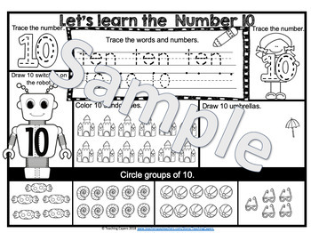 No Prep Counting Numbers 1-10 Worksheets -  Trace, Color and Draw