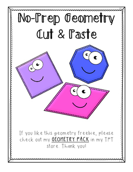 No-Prep Cut & Paste Geometry FREEBIE